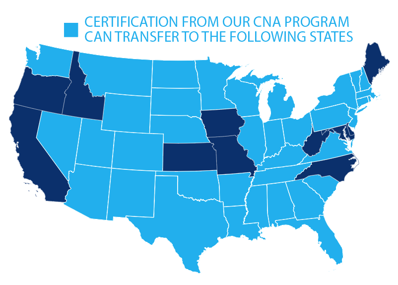 Certification from our CNA program can transfer to the following 35 states: