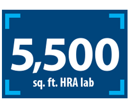 Text displaying 5,500 square foot HRA lab over a rectangle logo