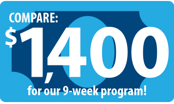 Text that reads Compare $1400 for our nine week program is displayed over the outline of a dollar