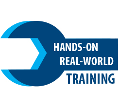 Text displaying Hands-on Real-world training over a wrench logo