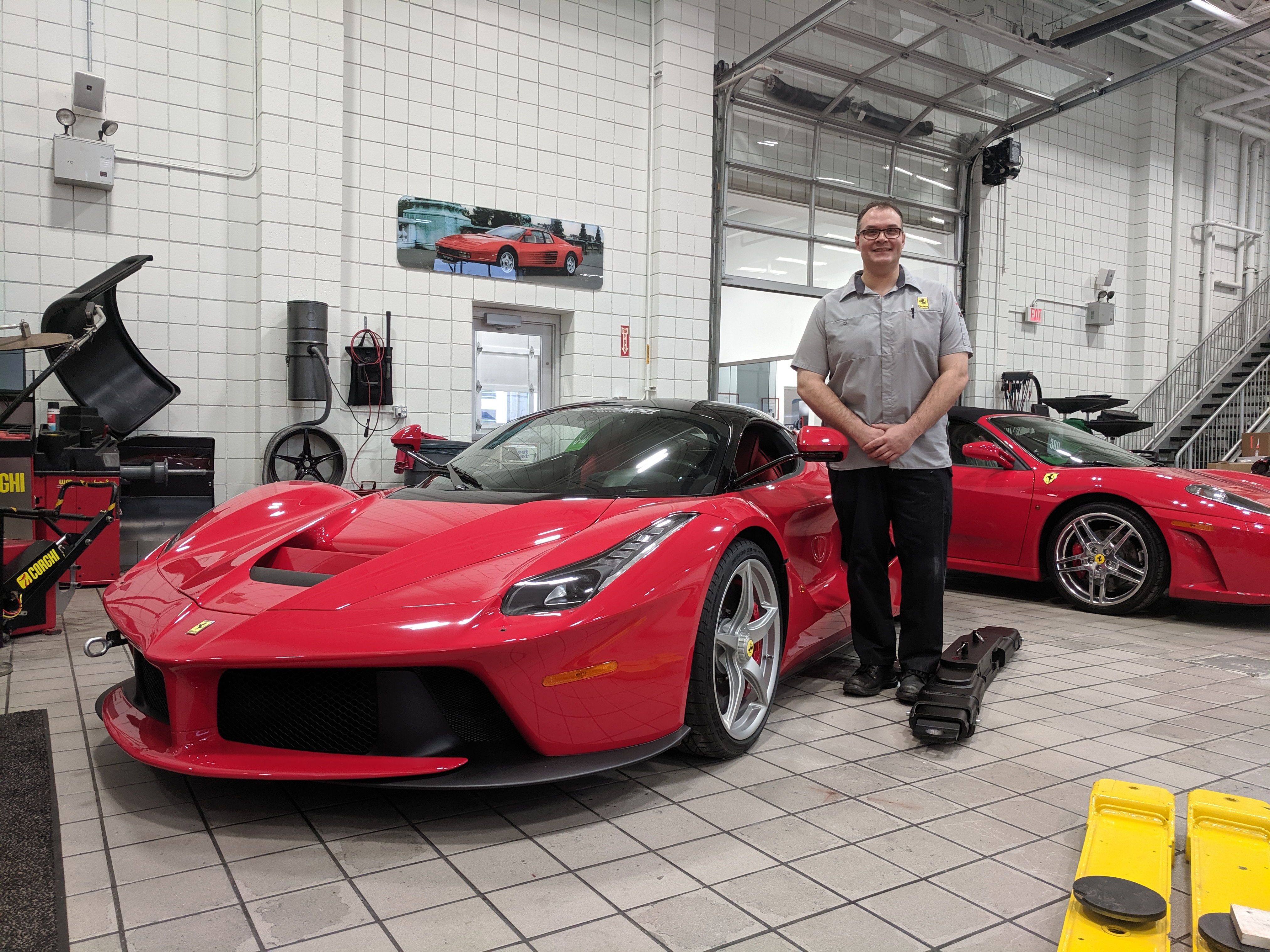 Salter prepares to work on a 2015 Ferrari LaFerrari hybrid—part of the Lingenfelter Collection and one of just 300 sold in the U.S.
