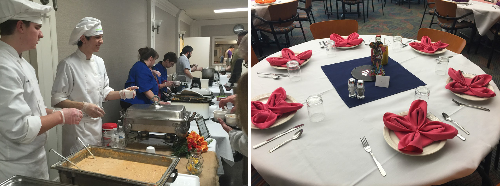 On the left, students smile as they serve guests. On the right, delicate pinwheels have been made out of cloth napkins and sit around at six place settings at a circular table.