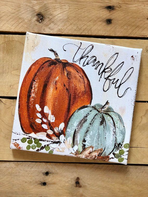 Image of Pumpkin Canvas Painting that will be completed in this class.