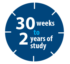 Text displaying 30 weeks to 2 years over a clock logo