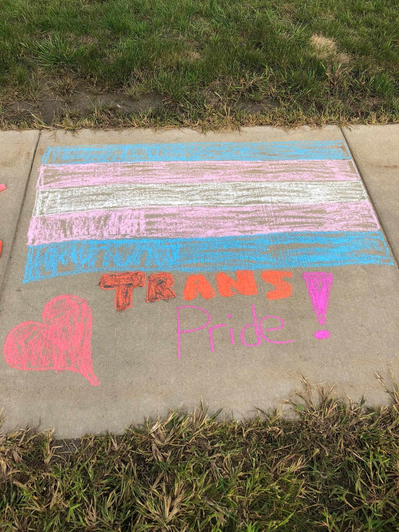 The blue, pink, and white trans flag chalked on the Mount Pleasant campus sidewalk
