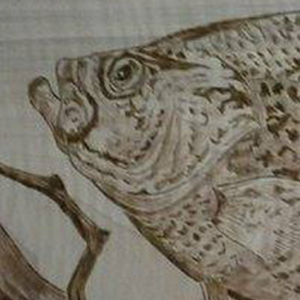 Wood burning art example featuring a fish.