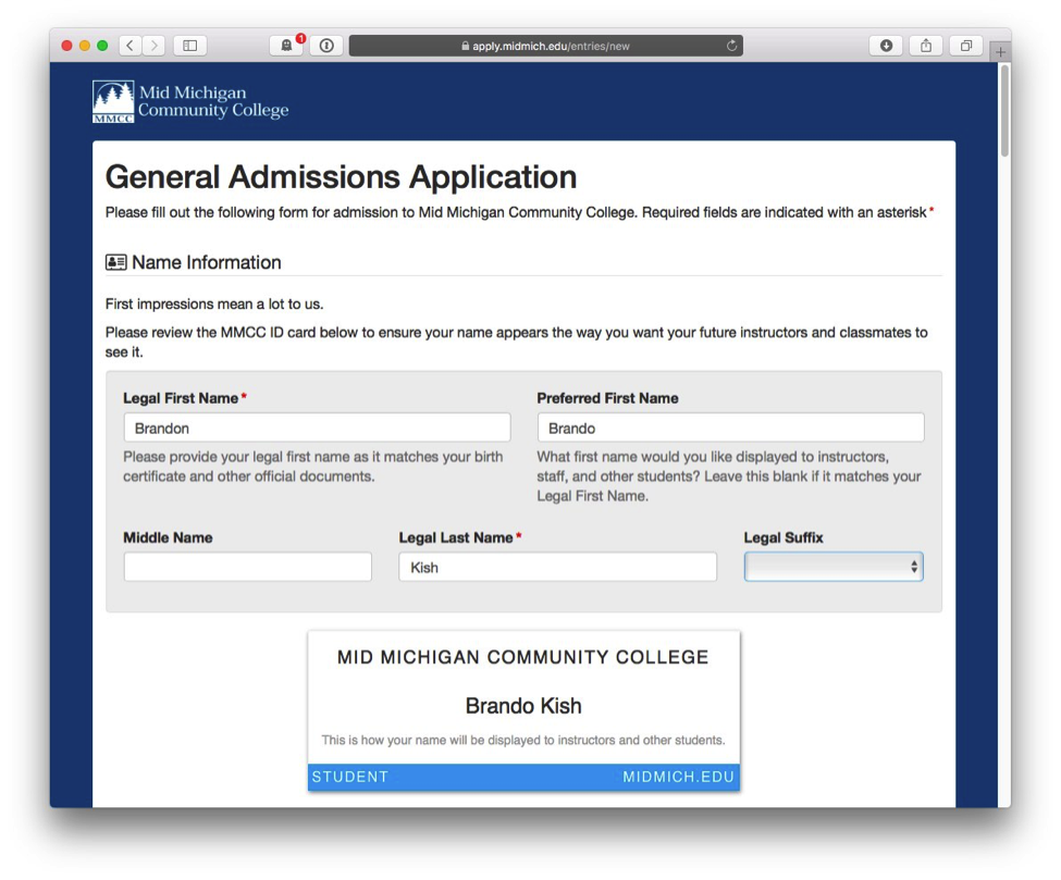 New and improved online admissions applications and other