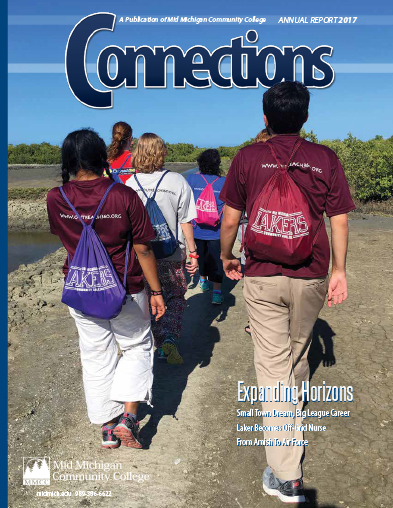Connections Cover 2017 - Study Abroad students walking to the horizon
