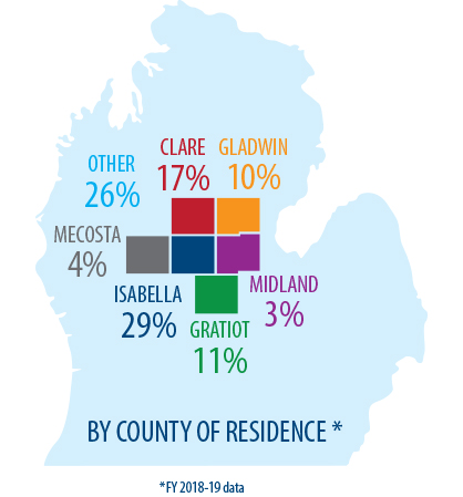 Percentage of our student by County