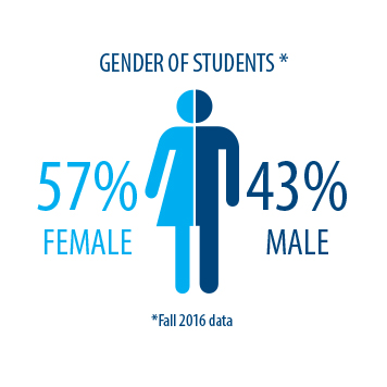 Women and men make up 57% and 43% of MMCC's student body respectively.