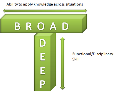 A green bar inforgraphic that shows the goal of being able to apply knowledge across a variety of situations with a significant amount of skill