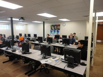 Students sit a computer lab on the Harrison campus.