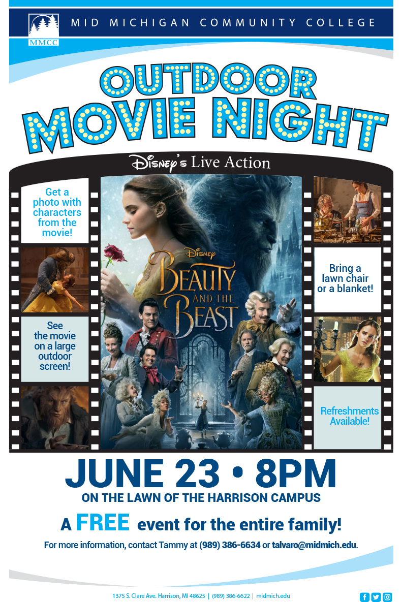 Beauty And The Beast Outdoor Movie Night Mid Michigan College