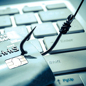 Fraud & Identity Theft - thumbnail image of fishing hook in credit cards