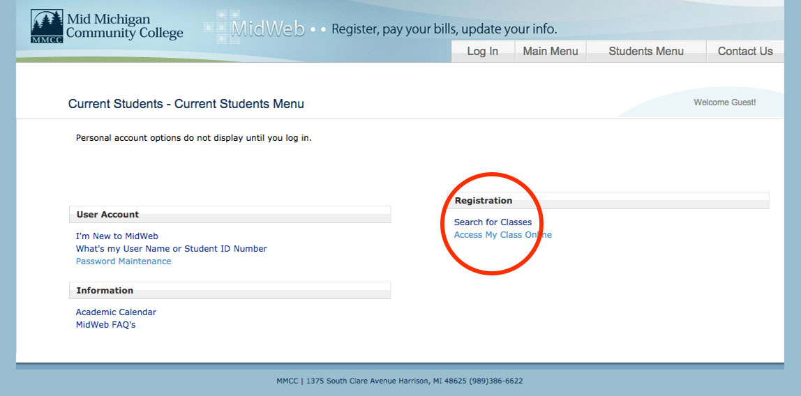 The search for classes link is located under the registration menu on the current student page of MidWeb that is not logged in