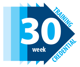 Text displaying 30 week training credential over a right-pointing arrow