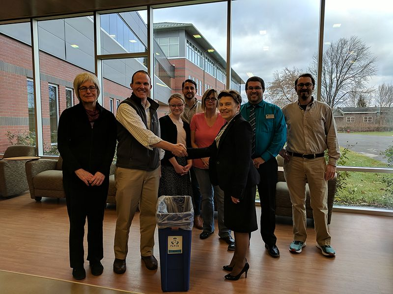 Members of APEX and the Mid Green recycling campus group