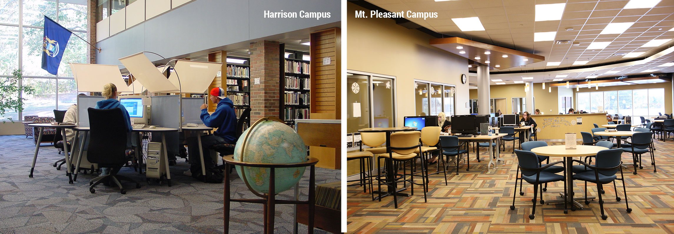 Interior views of both libraries on the Harrison and Mount Pleasant Campuses. On the left, three students sit at desktop machines in a sectioned computer pool. On the right, The Mount Pleasant Campus has multiple study tables and computers set up surrounding the circular information desk, where the staff work.