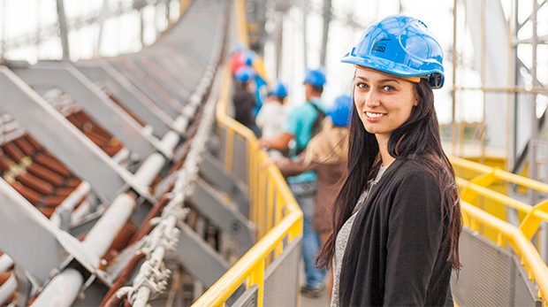 Woman in Hardhat at a construction site