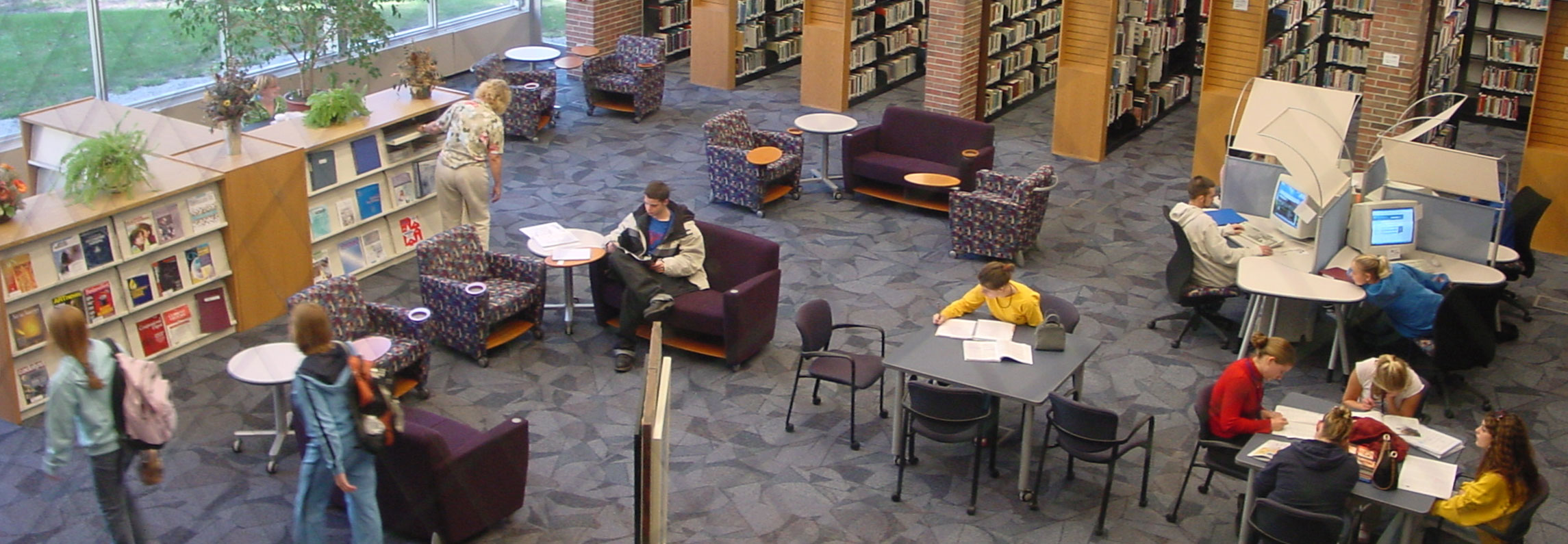 A view of the Harrison campus Library from the second floor.